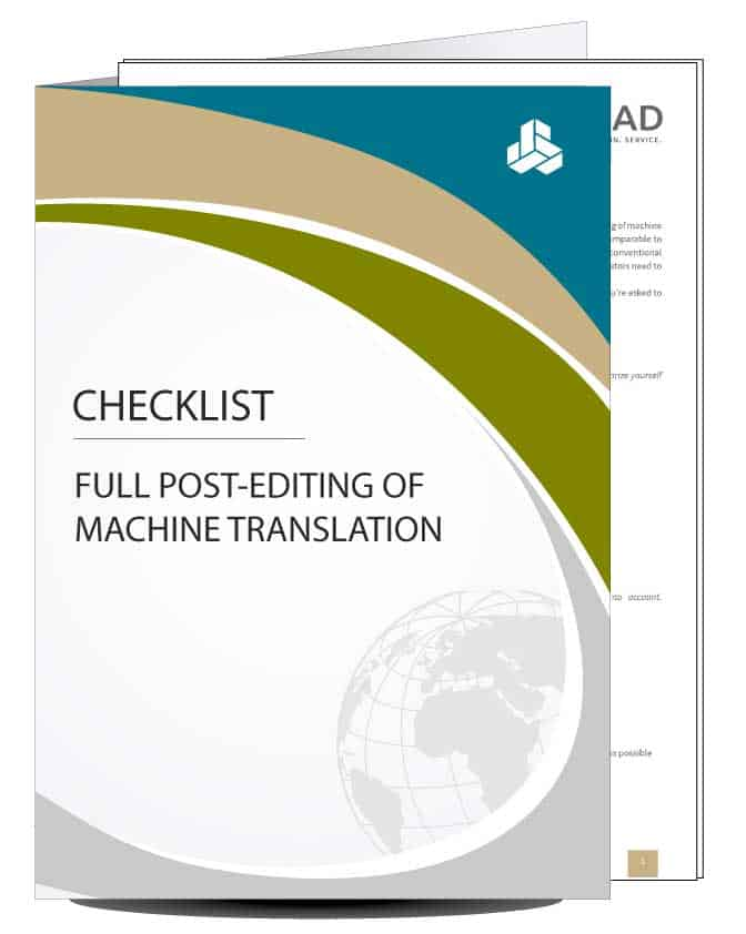 Checklist for post-editing MT output